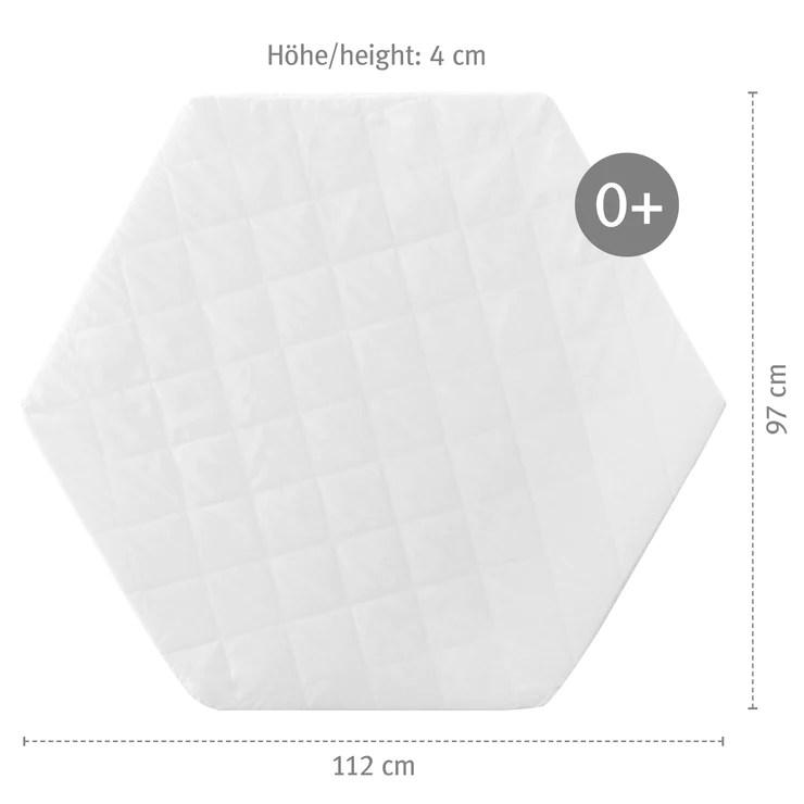 matelas pour parc bebe hexagonal blanc matelasse 112 x 97 x 4 cm