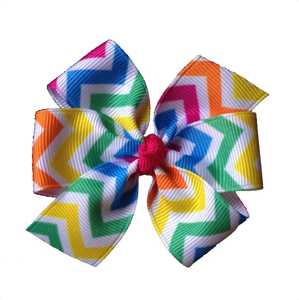 neon chevron summer hair bow