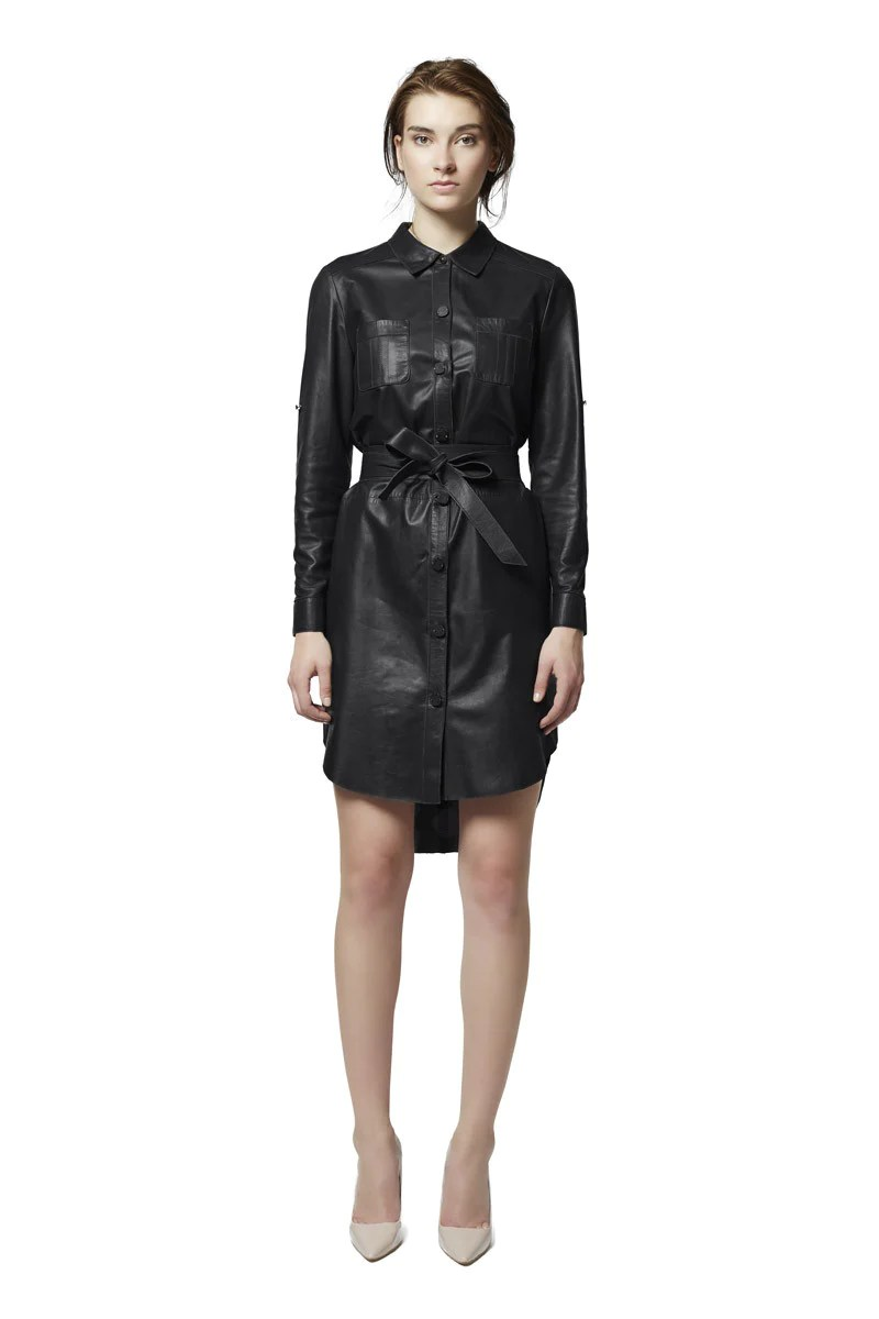 Islington Leather Shirtdress - Black Rtister