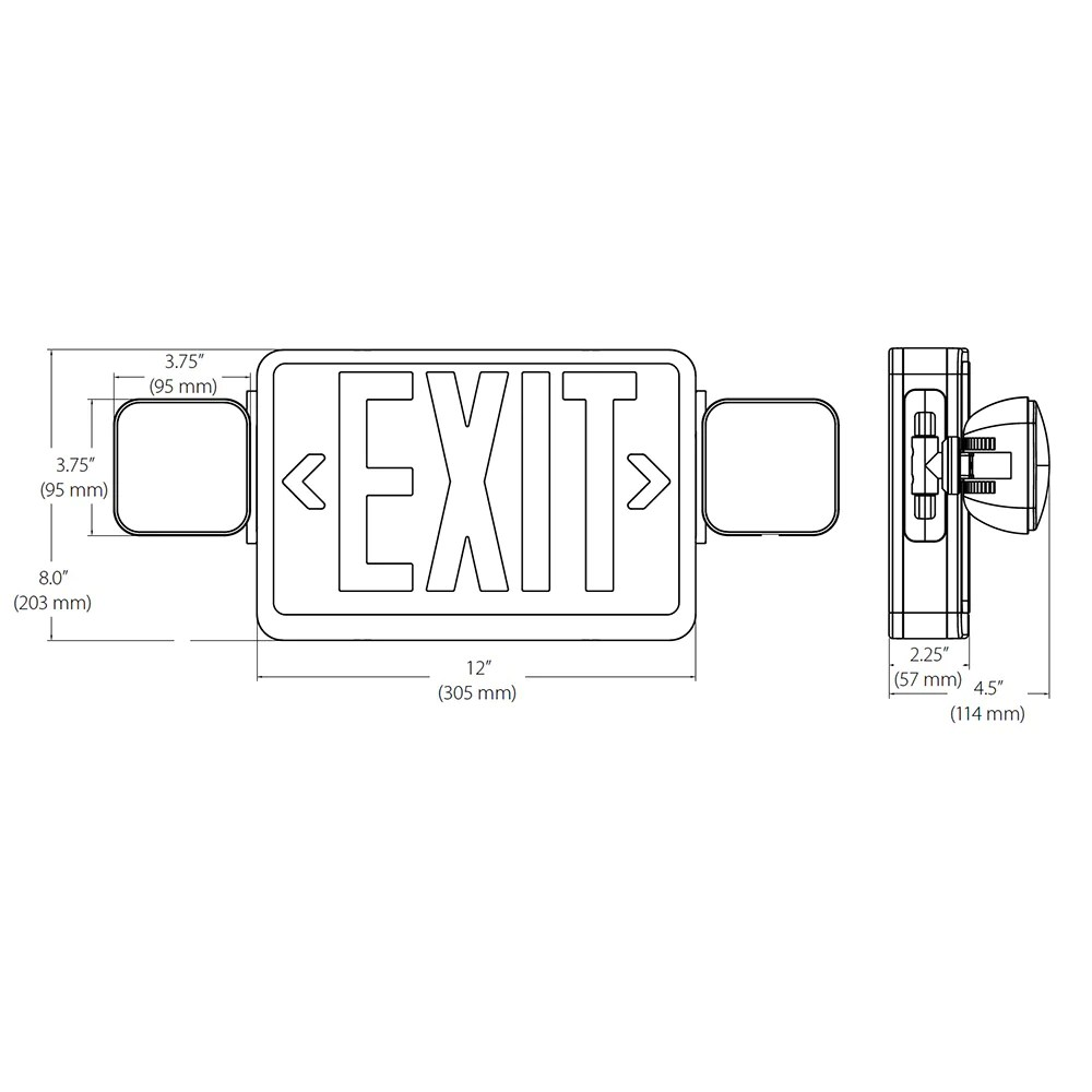 nicor led emergency exit sign with dual adjustable led heads [ 1000 x 1000 Pixel ]