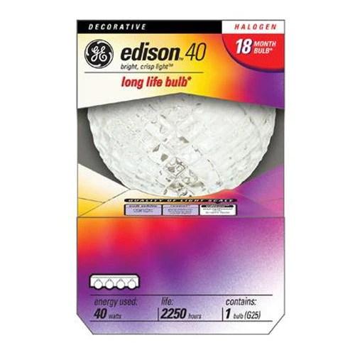 GE 40w 120v Crystal G25 Halogen light bulb  BulbAmerica