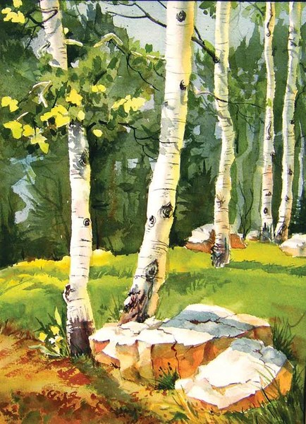 kitchen cutting board children play large aspen forest watercolor painting board, 11.5 ...