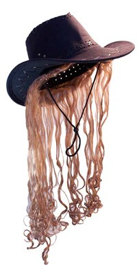 COWBOY HAT W LONG BLONDE HAIR Sold By The Piece