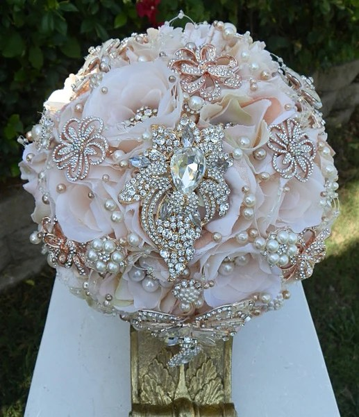 Blush Pink Rose Gold Brooch Bouquet 49500 Promo Full Price  GLAM BOUQUET