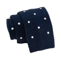Hampton Dots Knitted Silk Tie, Navy / White  The Dark Knot