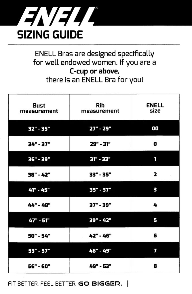 Finding your fit is not always straightforward so don   fret if enell  standard sizes work for you can create  custom sports bra to suit also sizing chart sportsbra rh
