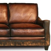 Distressed Handmade Brown Leather Sofa