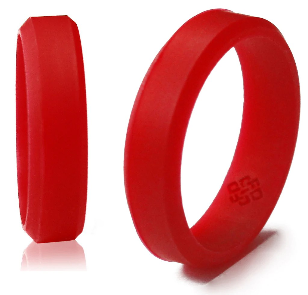 Beveled Silicone Wedding Band For Men And Women 6mm Band