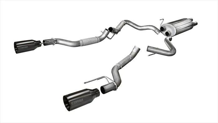 corsa performance exhaust system for 2017 2020 ford raptor sport cat back 14397gnm