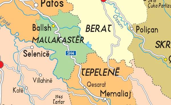 Albania Political Map Tiger Moon