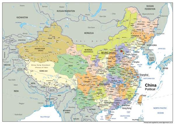 China Political Map Tiger Moon