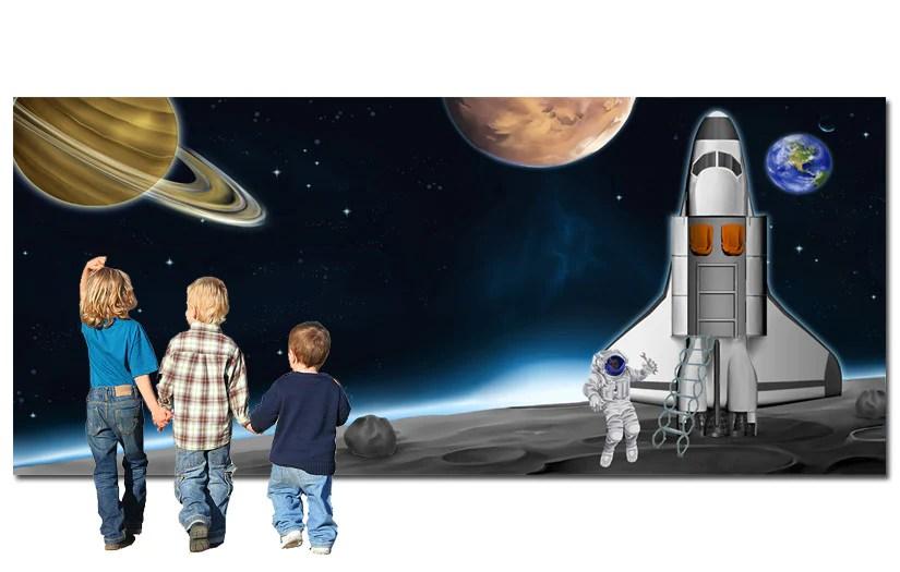Space Scene Landing Backdrop Tiger Moon
