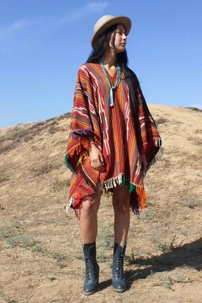 Peruvian Shaman Handwoven Wool Poncho Cape  Honeywood