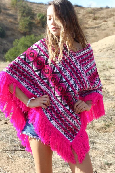 Pink Fiesta Vintage Woven Mexican Poncho  Honeywood