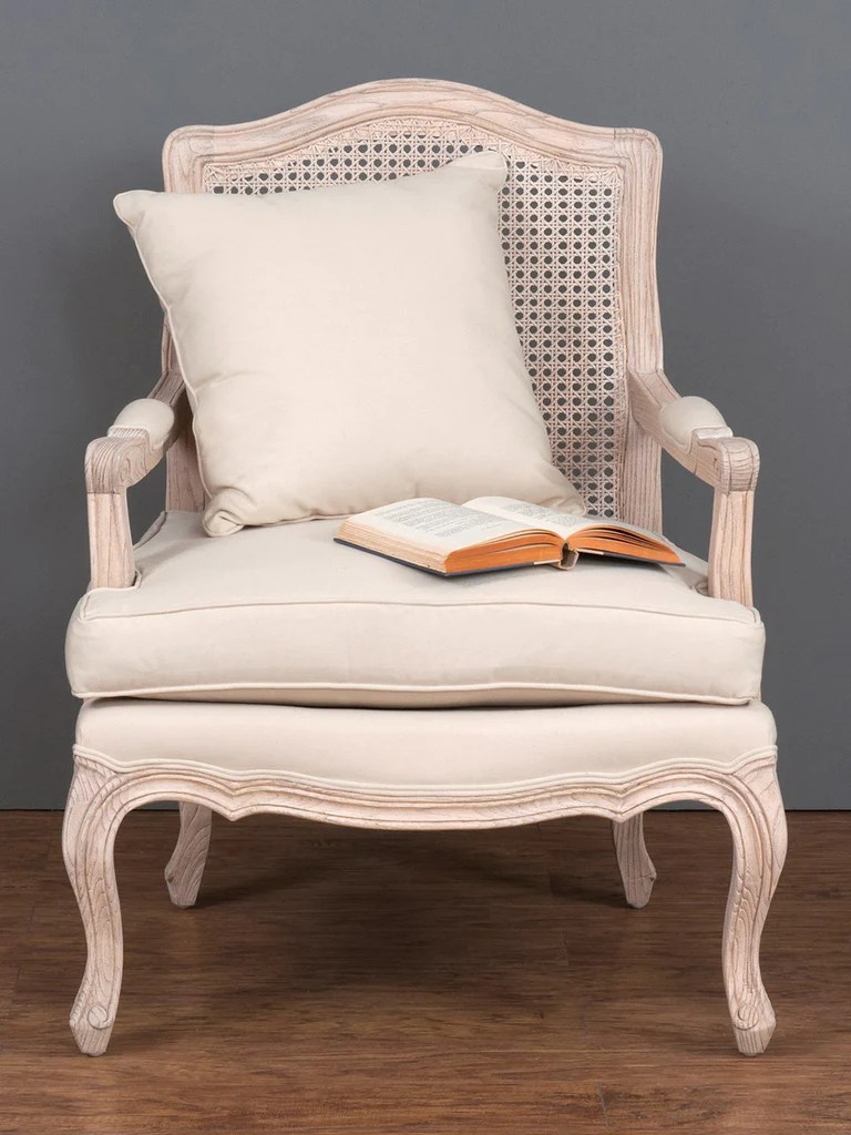 french provincial adele occasional chair good cheap gaming chairs cane linen armchair centuria