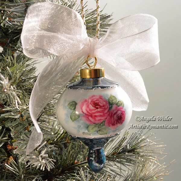 Victorian Christmas Ornament Hand Painted China Ruby Pink