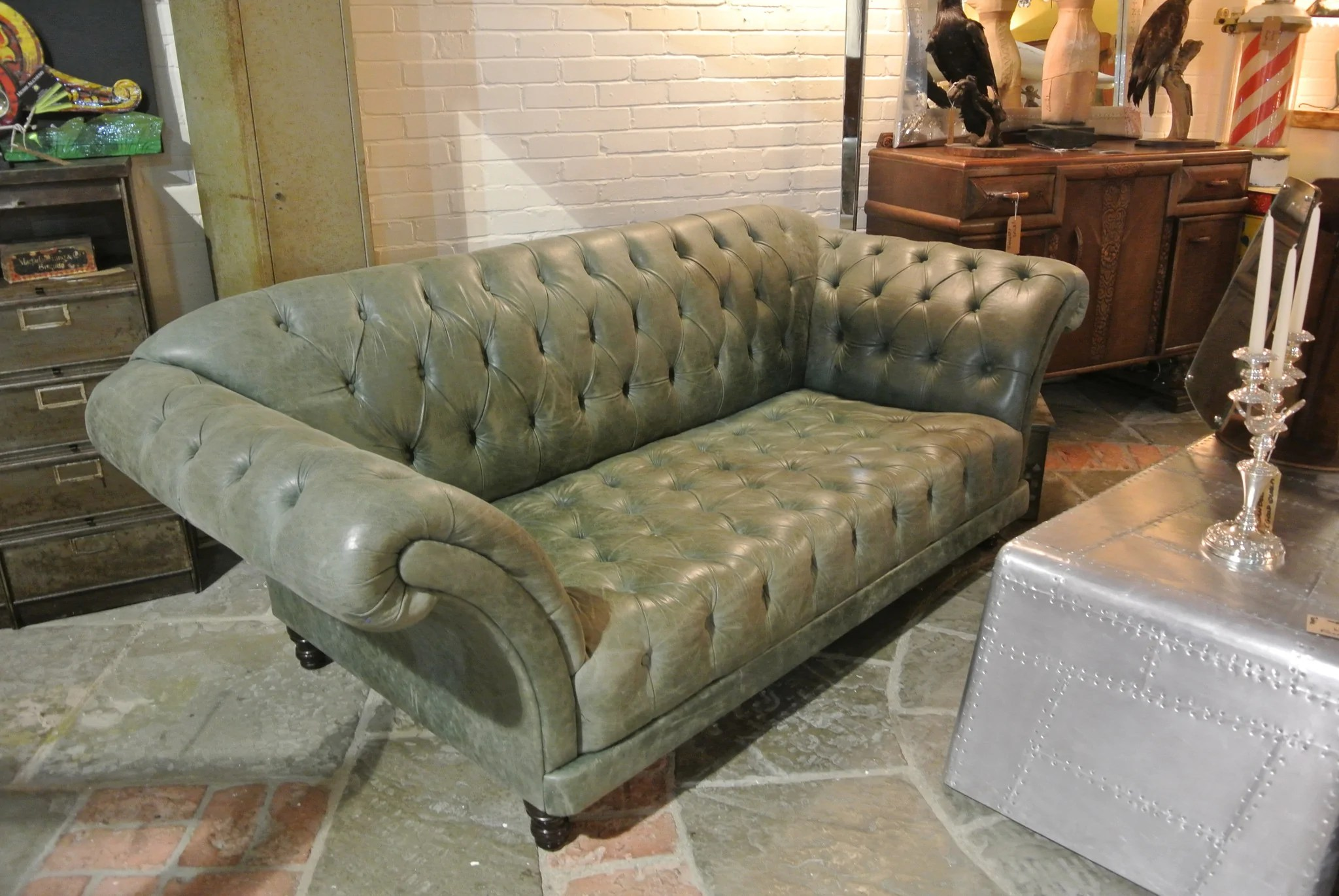 sage green leather sofa upholstery fabric vintage chesterfield home alchemy