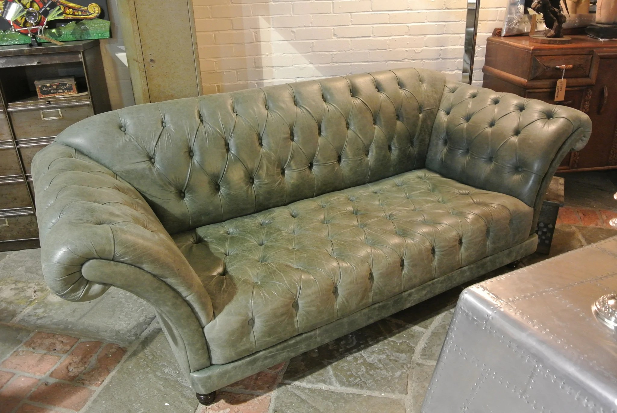 sage green leather sofa baxton studio adelaide white modern sectional vintage chesterfield home alchemy