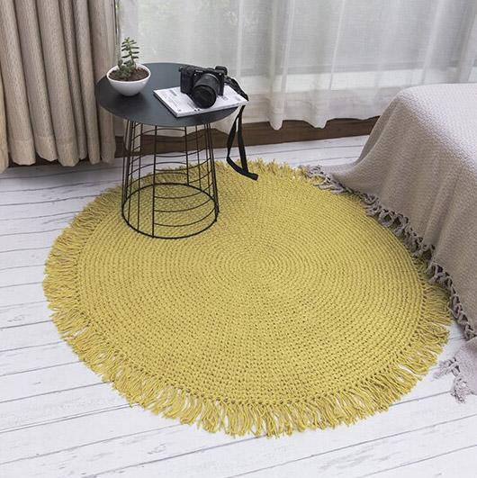 petit tapis rond en jute