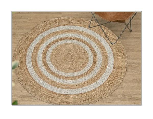 tapis rond jute blanc beige