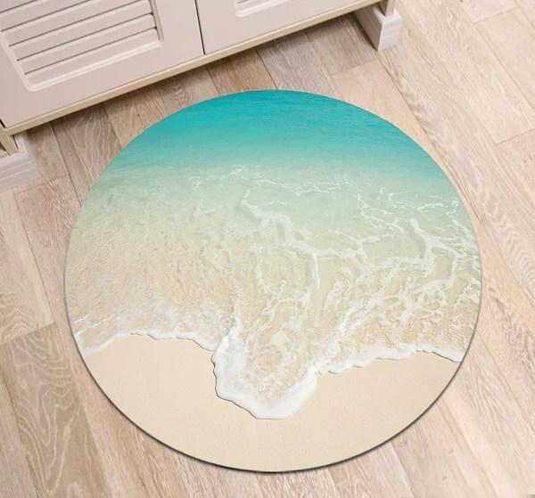tapis rond sable blanc