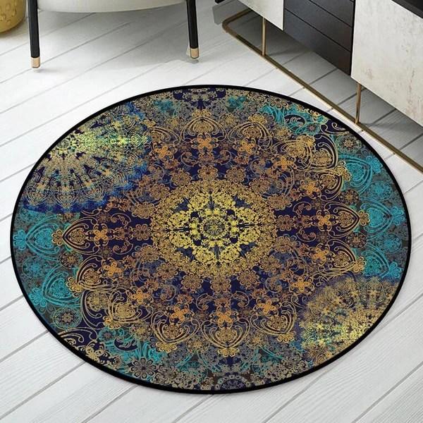 tapis rond art abstrait