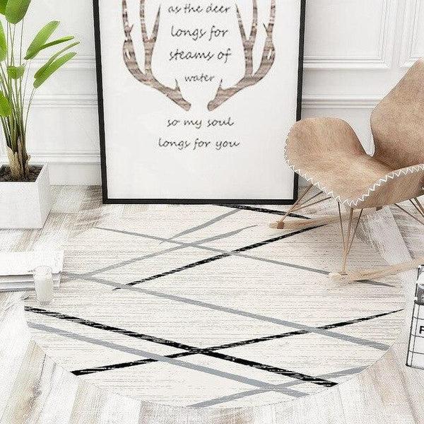 tapis rond blanc casse