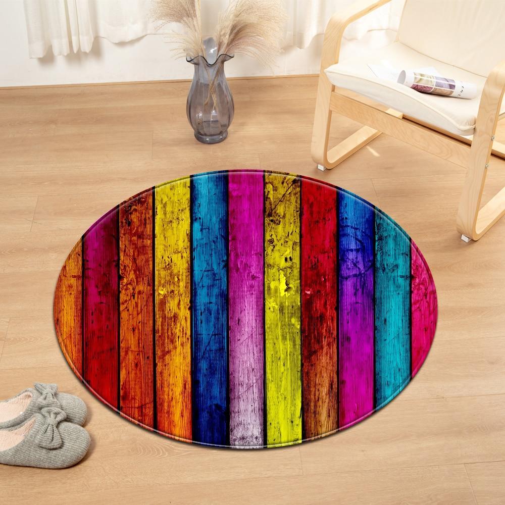 tapis rond bois multicolore