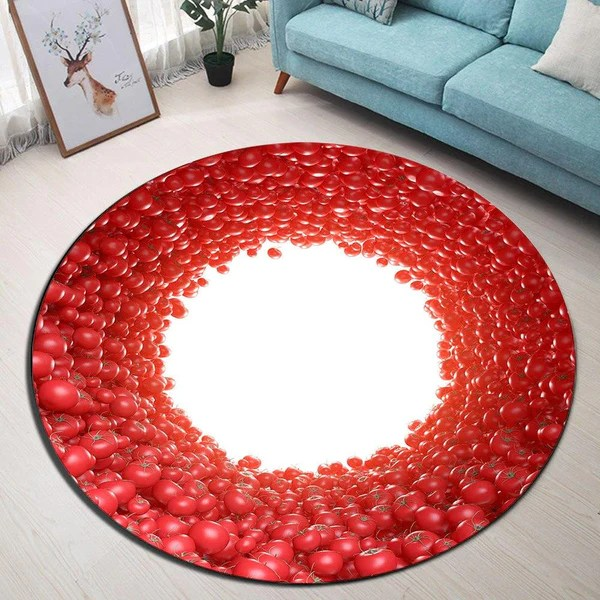 tapis rond contour rouge