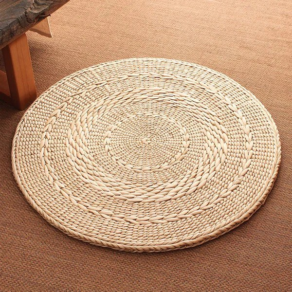 tapis rond paille tressee