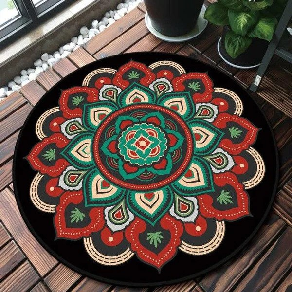 representation materialisme trace tapis rond rouge pas cher