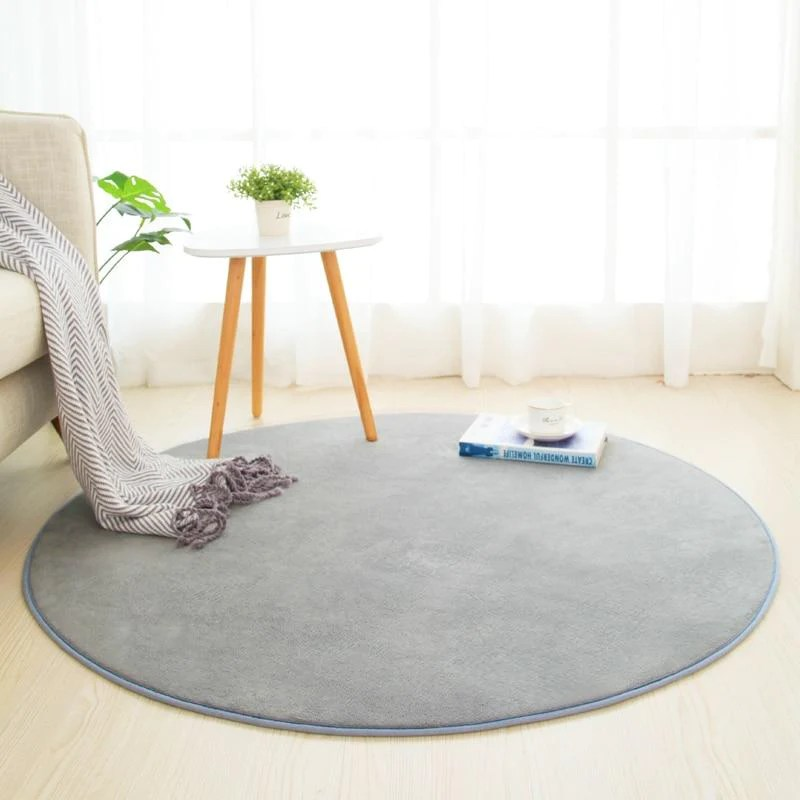tapis rond salle de bain gris