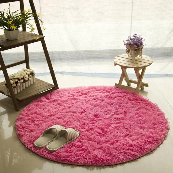 tapis rond shaggy rose