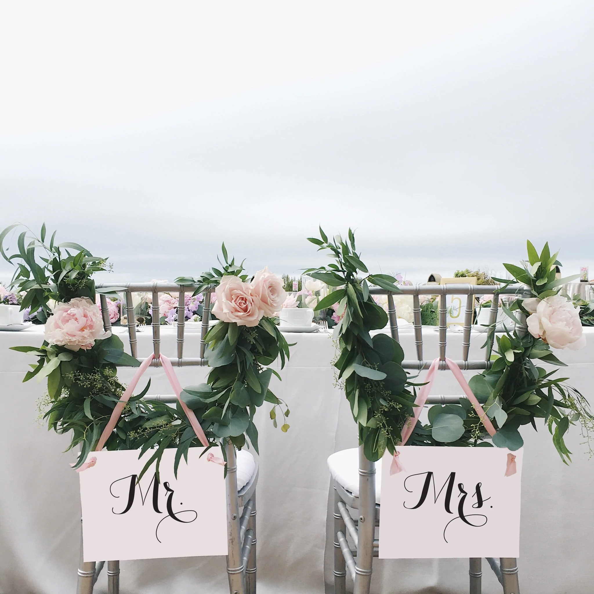 mr and mrs chair signs sofa slipcovers wedding for bride groom black blush pink ritzy rose