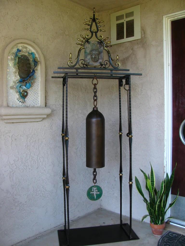Peace Zen Garden Bellrepurposed oxygen cylinder sculpture  Metalmorph Upcycled Metal Sculpture