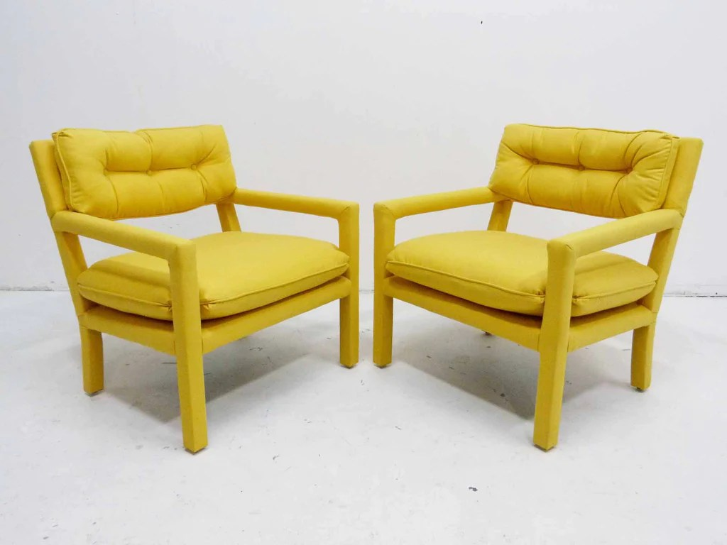 yellow parsons chair cheap baby high chairs parson armchairs milo baughman thayer coggin