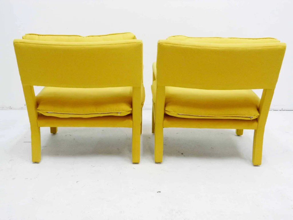 yellow parsons chair vinyl dining room covers parson armchairs milo baughman thayer coggin
