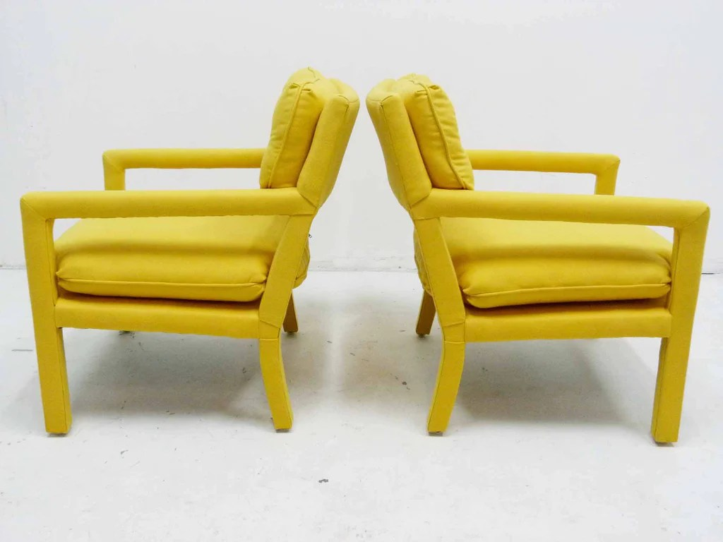 yellow parsons chair wedding cover hire falkirk parson armchairs milo baughman thayer coggin