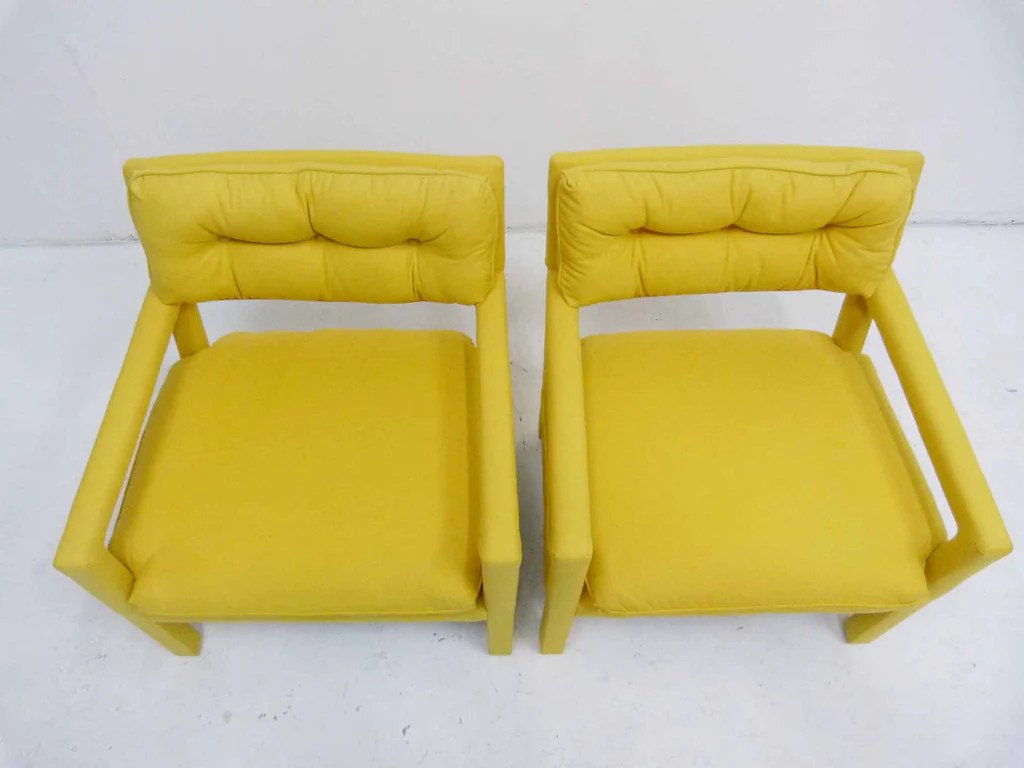 yellow parsons chair bubble hanging ikea parson armchairs milo baughman thayer coggin