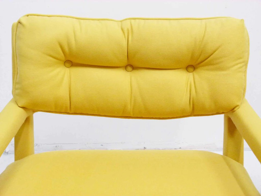 yellow parsons chair wedding covers york parson armchairs milo baughman thayer coggin