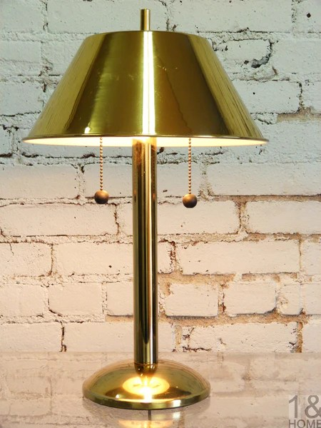 Brass MidCentury Table Pull Chain Desk Lamp  One and