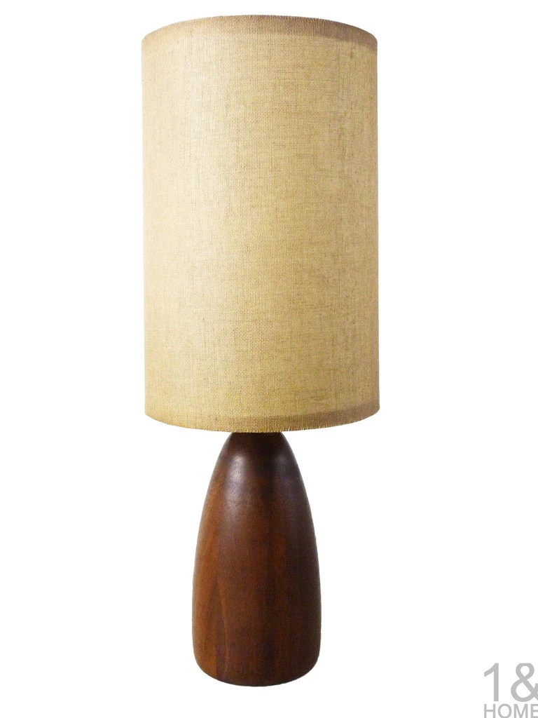 Danish Modern Small Turned Teak Wood Table Lamp  One and