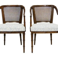 Bamboo Cane Back Chairs Sunbrella Lounge Chair Henredon Faux Side Armchairs Oneandhome