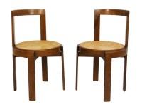 Italian mid-century modern round bentwood cane chairs ...