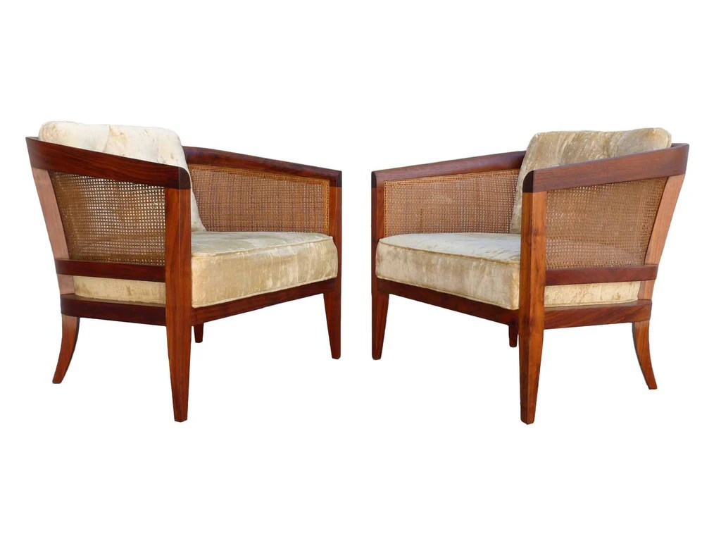 mid century modern cane barrel chairs velvet club chair oiled walnut and pair