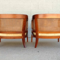 Mid Century Cane Barrel Chair Revolving Parts Hyderabad Oiled Walnut And Club Chairs Pair