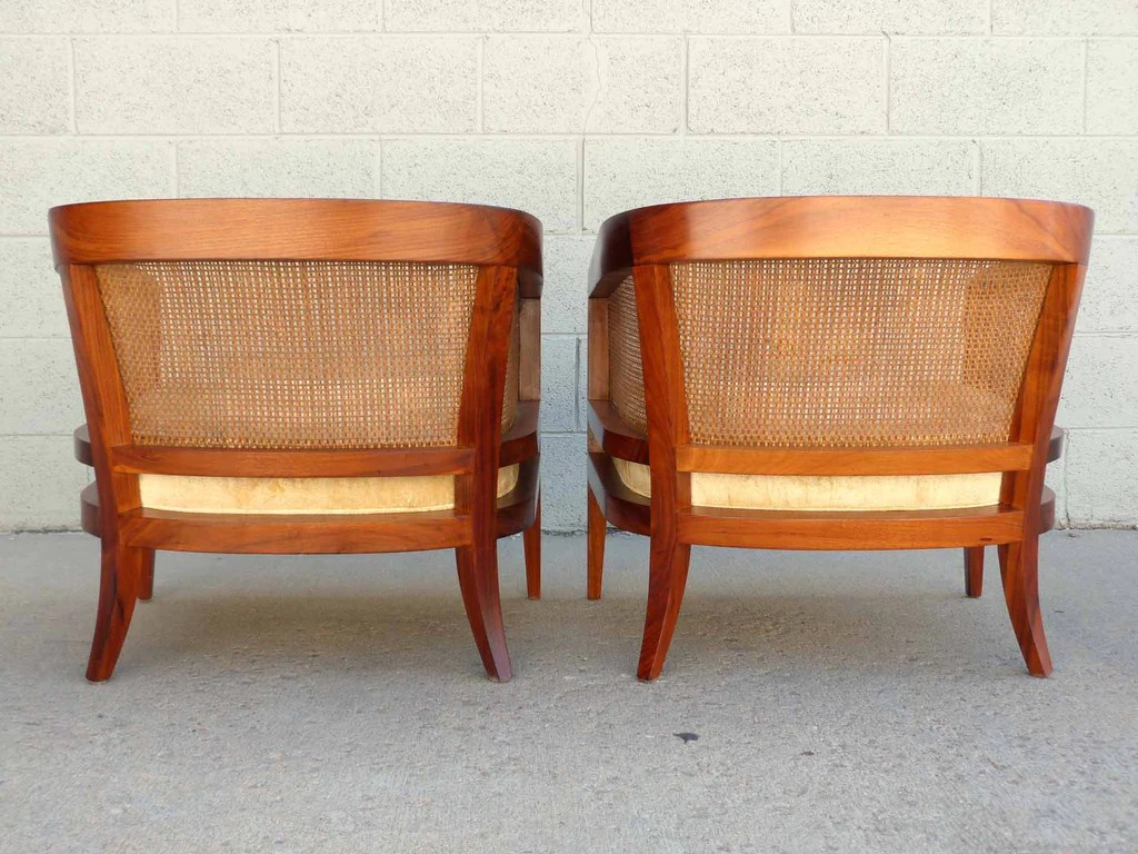 mid century modern cane barrel chairs fishing chair korum oiled walnut and club pair oneandhome 7