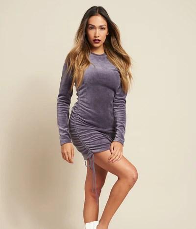 Velour Long Sleeve Shirred Dress