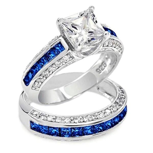 Thin Blue Line 3585 Cttw Princess Cut Engagement Ring Set