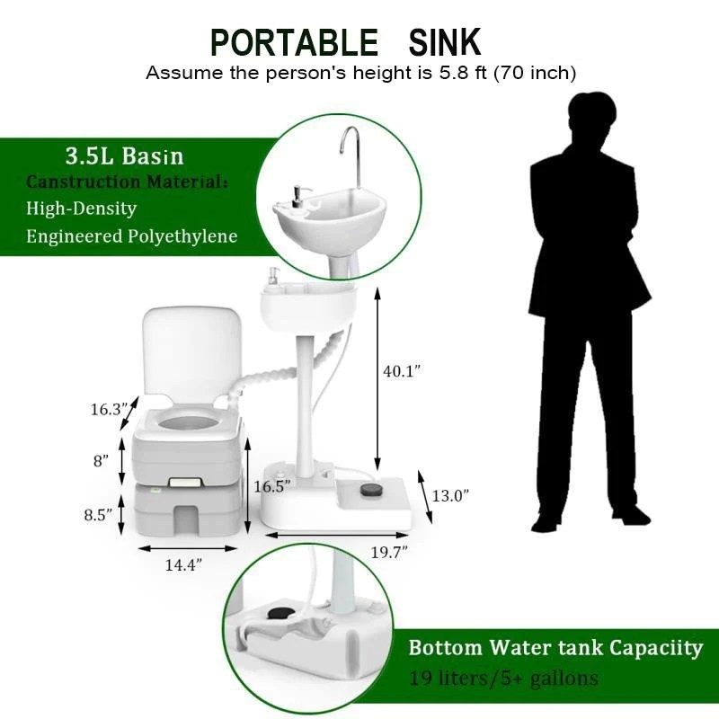 tidobit portable toilet and sink combo hand washing station camping potty perfect for camping rv boat road tripper camper